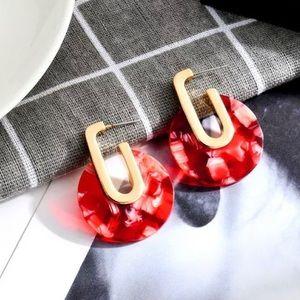 Jewelry - NWT red acrylic hoop earrings